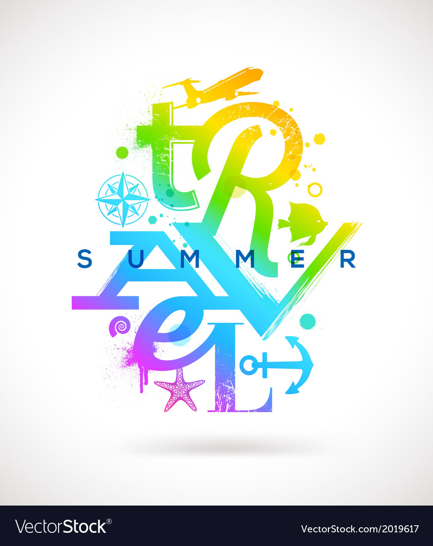 Summer travel multicolored type design vector | Price: 1 Credit (USD $1)