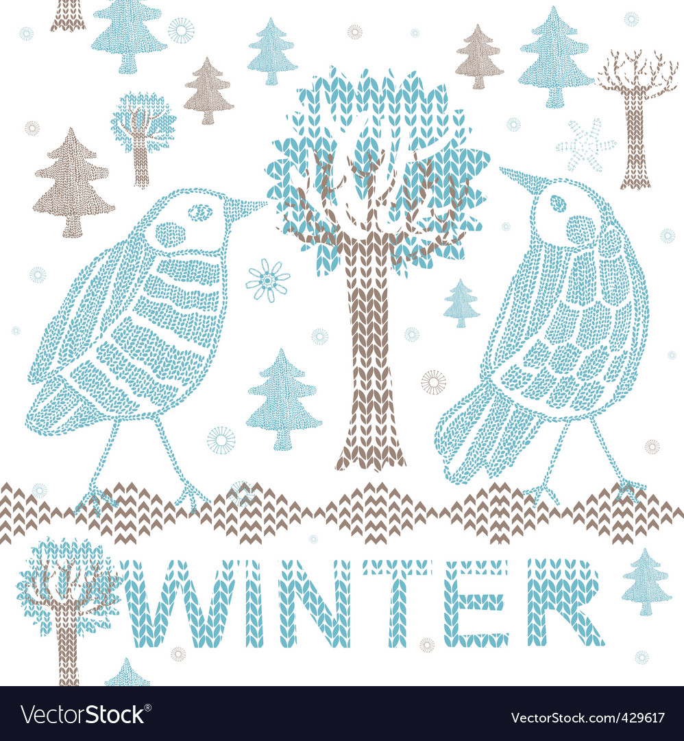 Winter knitting scene vector | Price: 1 Credit (USD $1)