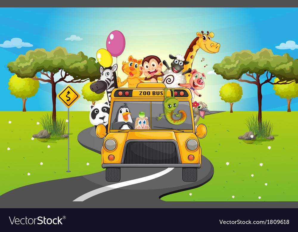 A group of happy animals travelling vector | Price: 1 Credit (USD $1)
