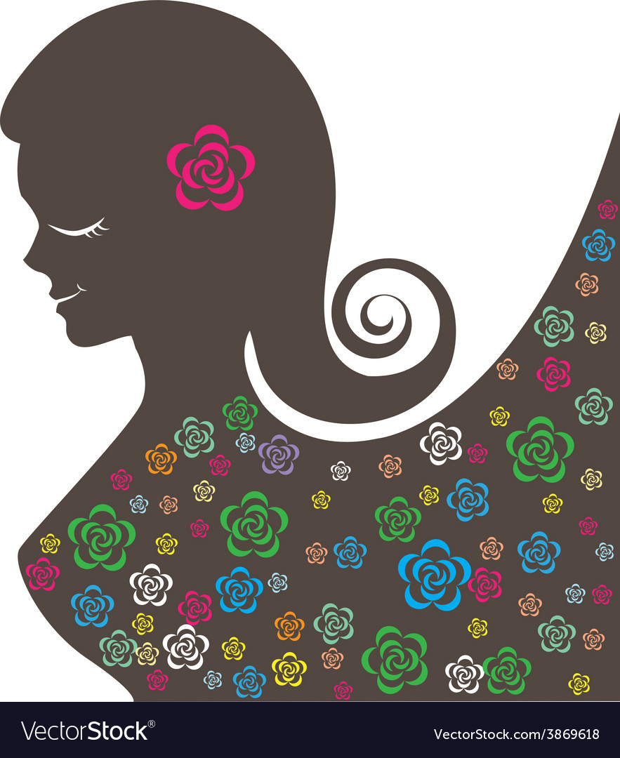 Abstract beautiful women with colorful flowers vector | Price: 1 Credit (USD $1)