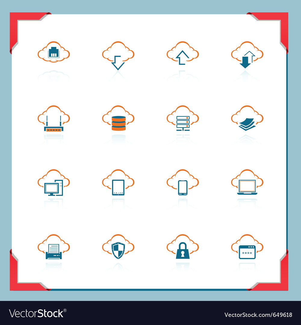 Cloud computing in a frame series vector | Price: 1 Credit (USD $1)