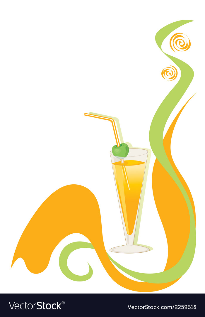 Cocktail green and orange background vector | Price: 1 Credit (USD $1)