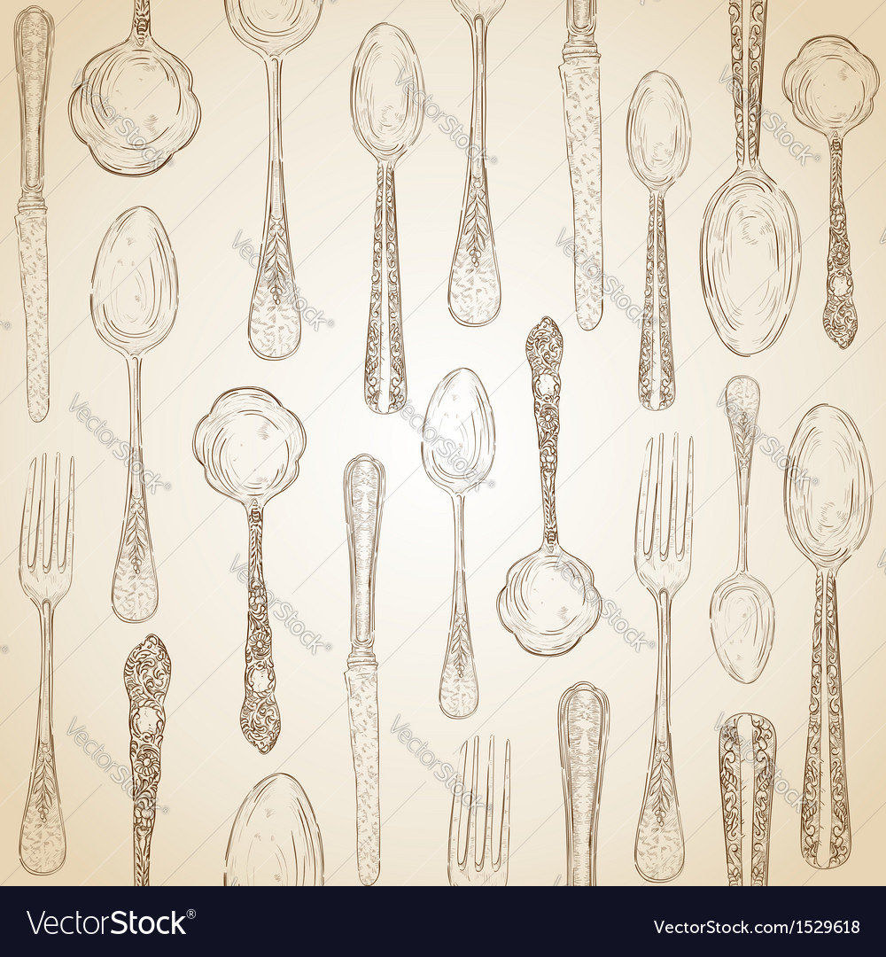 Hand drawn silverware icons seamless pattern vector | Price: 1 Credit (USD $1)