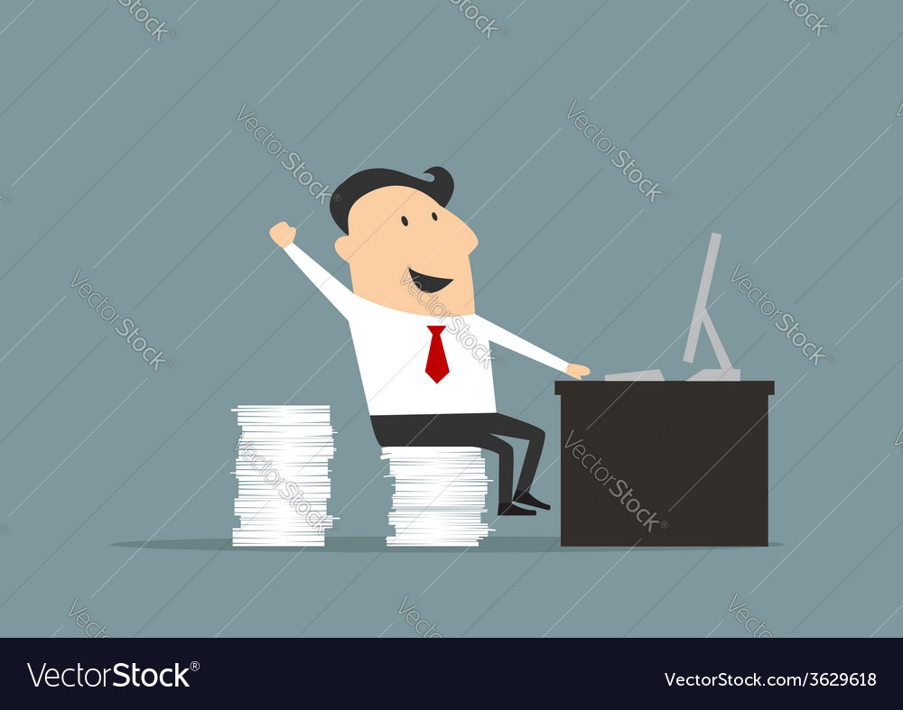 Happy flat businessman with computer vector | Price: 1 Credit (USD $1)