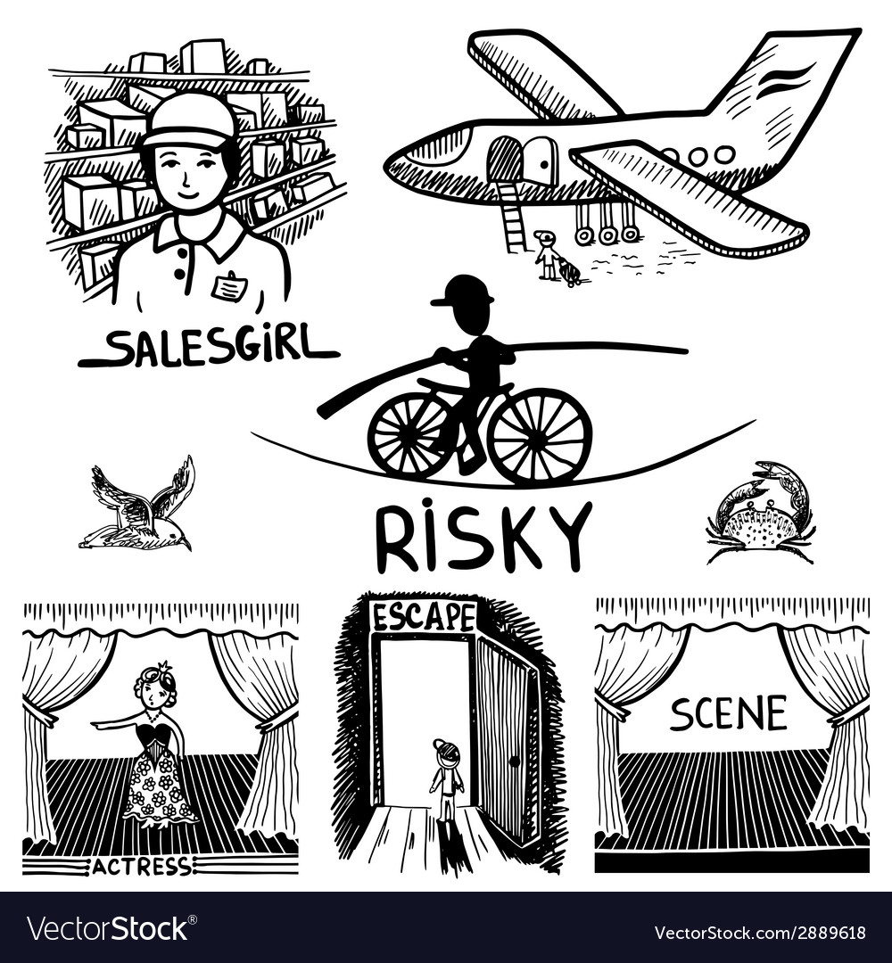 Ink drawing of risky salesgirl scene actress vector | Price: 1 Credit (USD $1)
