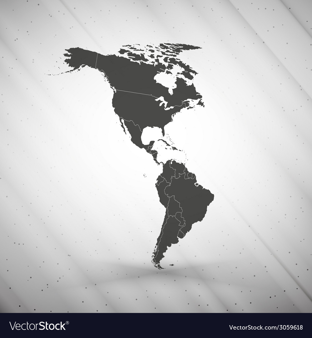 North and south america map on gray background vector | Price: 1 Credit (USD $1)
