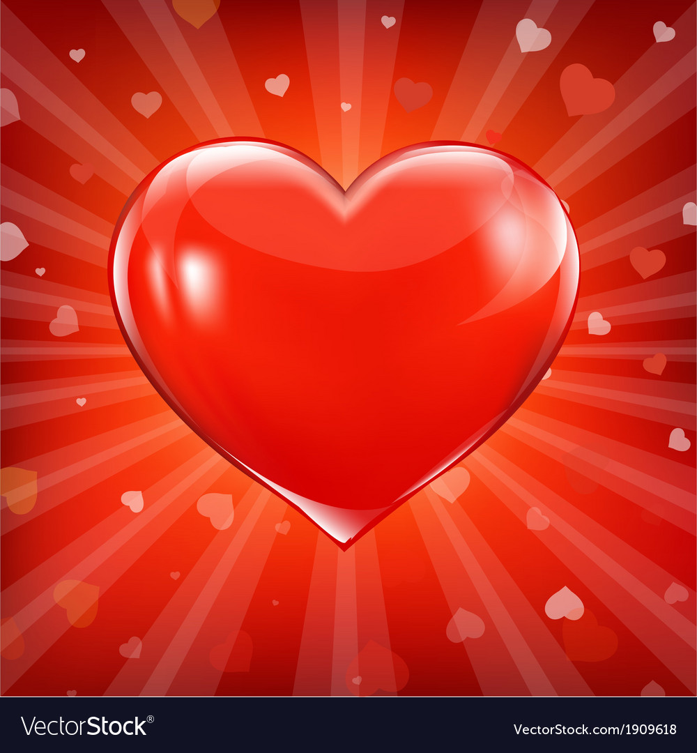 Red backgrounds with beams and hearts vector | Price: 1 Credit (USD $1)