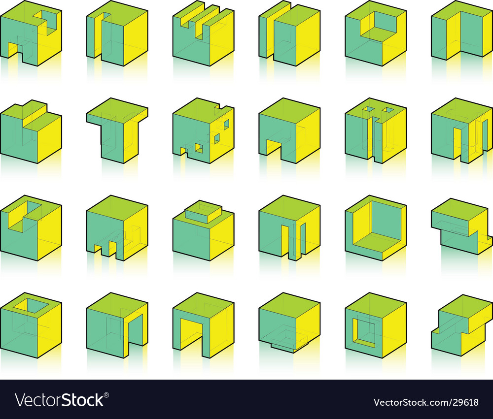 Set of modified cubes vector | Price: 1 Credit (USD $1)