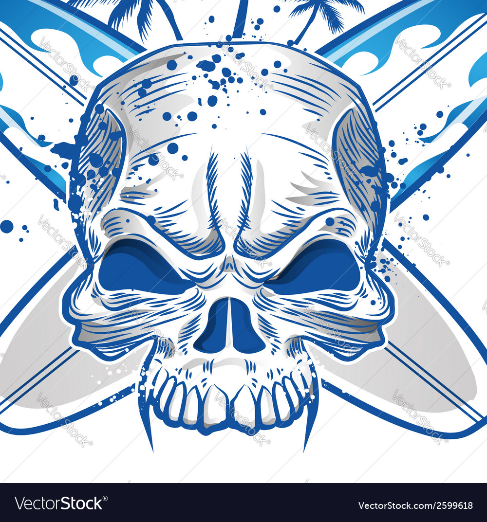Skull on surfboard background vector | Price: 1 Credit (USD $1)