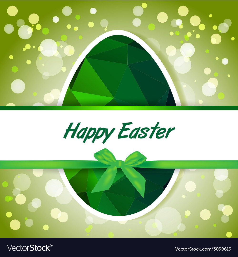 Easter polygonal green eggs greeting card vector | Price: 1 Credit (USD $1)