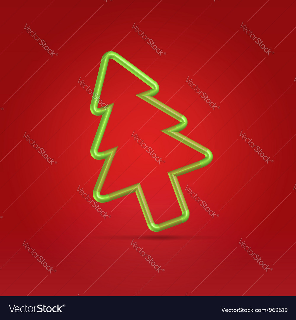 Festive wire tree xmas on red vector | Price: 1 Credit (USD $1)