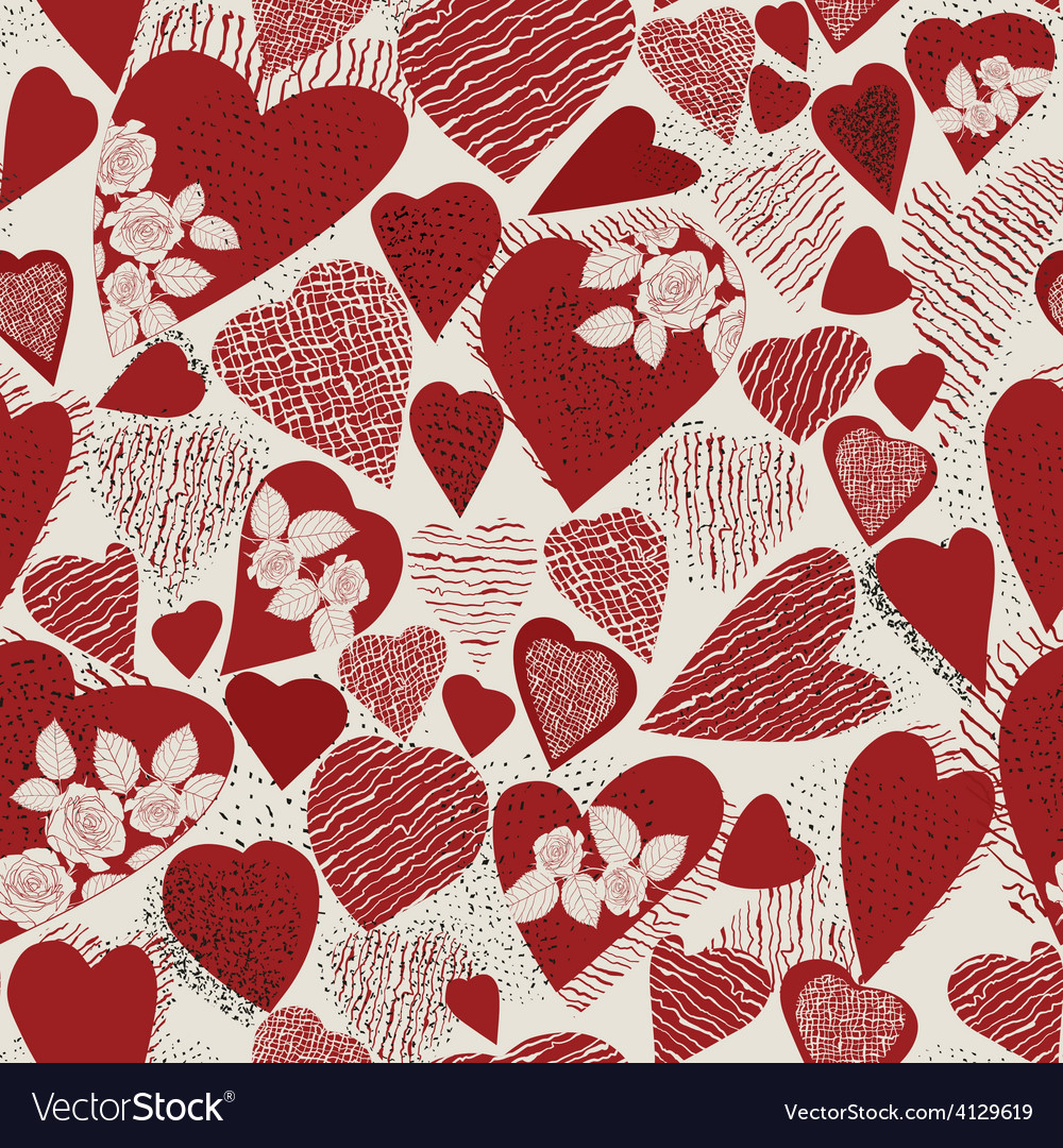 Grunge heart seamless pattern vector | Price: 1 Credit (USD $1)