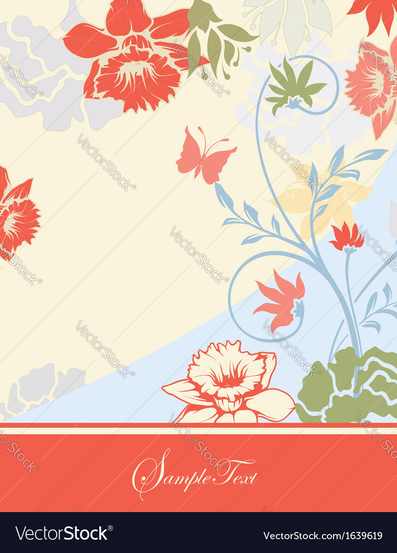Invitation card with floral background vector | Price: 1 Credit (USD $1)