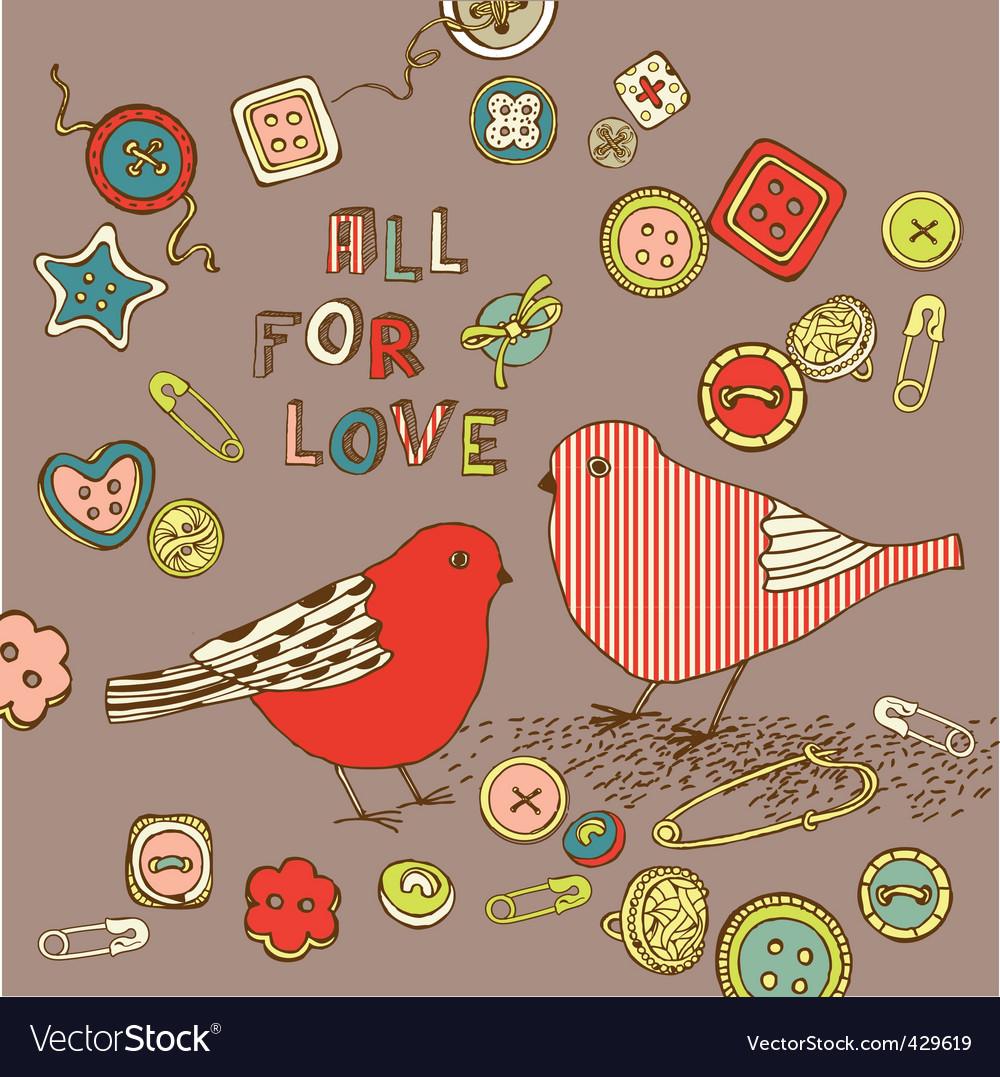 Love birds background vector | Price: 1 Credit (USD $1)