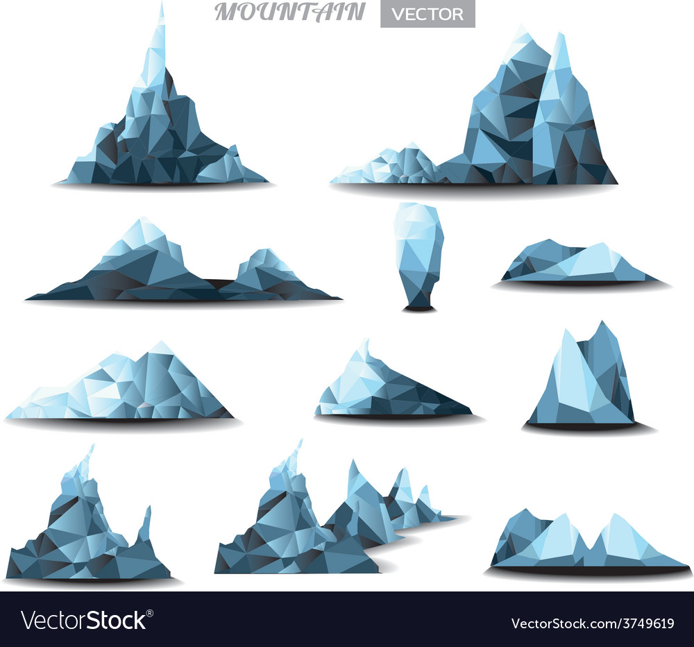 Mountain polygonal set background vector | Price: 1 Credit (USD $1)