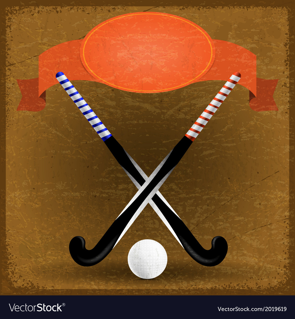 Old paper background with sticks for field hockey vector | Price: 1 Credit (USD $1)