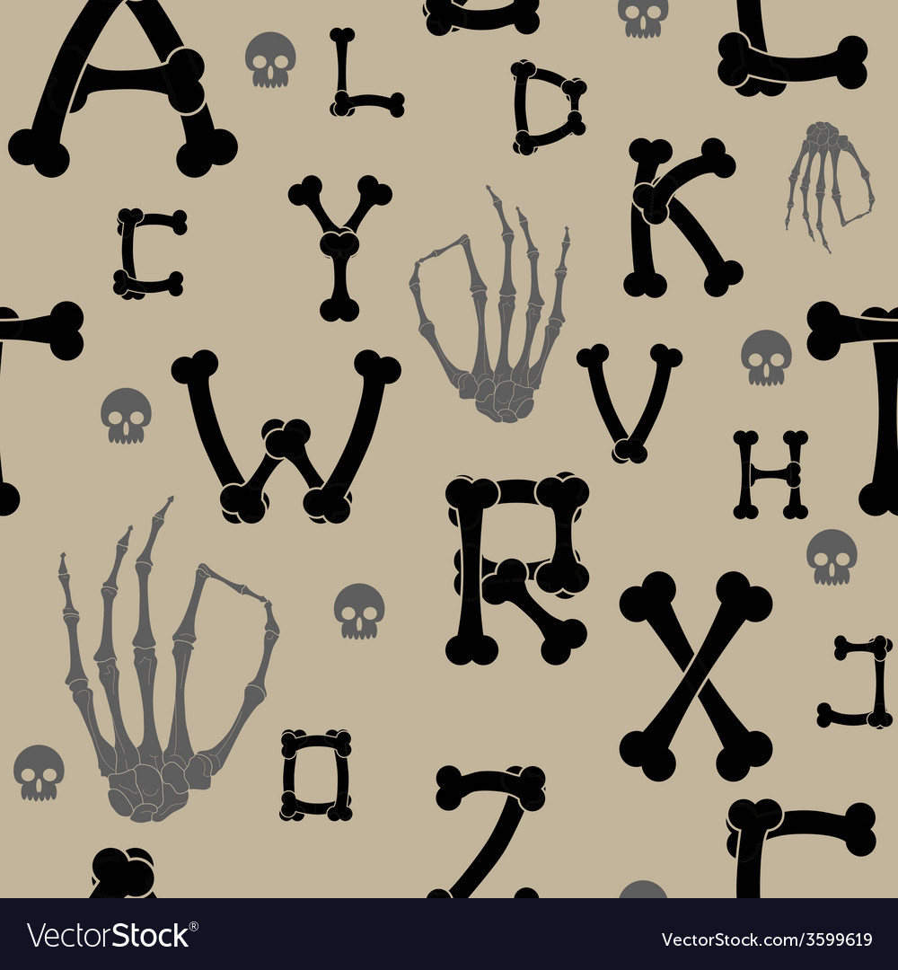 Seamless background with bones and letters vector | Price: 1 Credit (USD $1)