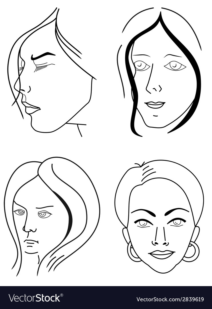 Set of woman faces vector | Price: 1 Credit (USD $1)