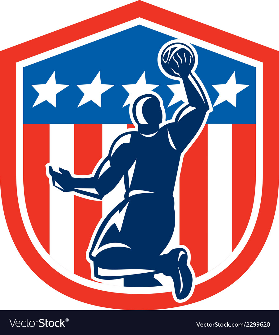 American basketball player dunk rear shield retro vector | Price: 1 Credit (USD $1)