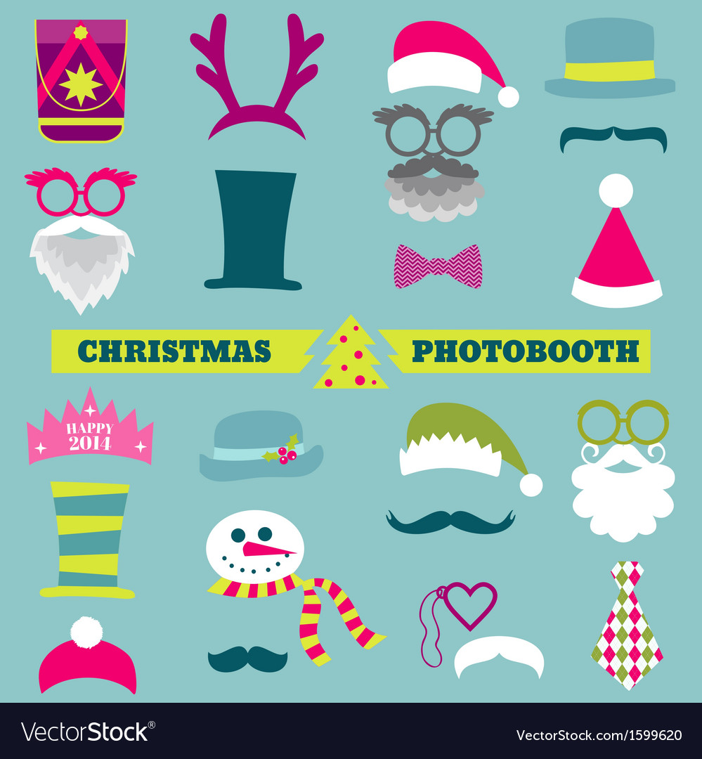 Christmas retro party set vector | Price: 1 Credit (USD $1)