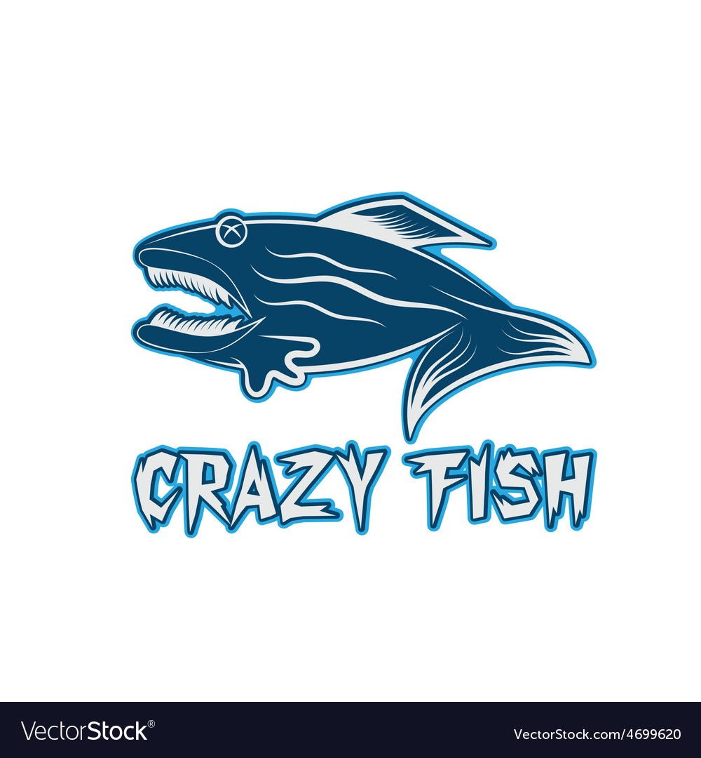 Crazy fish cartoon mascot design template vector | Price: 1 Credit (USD $1)