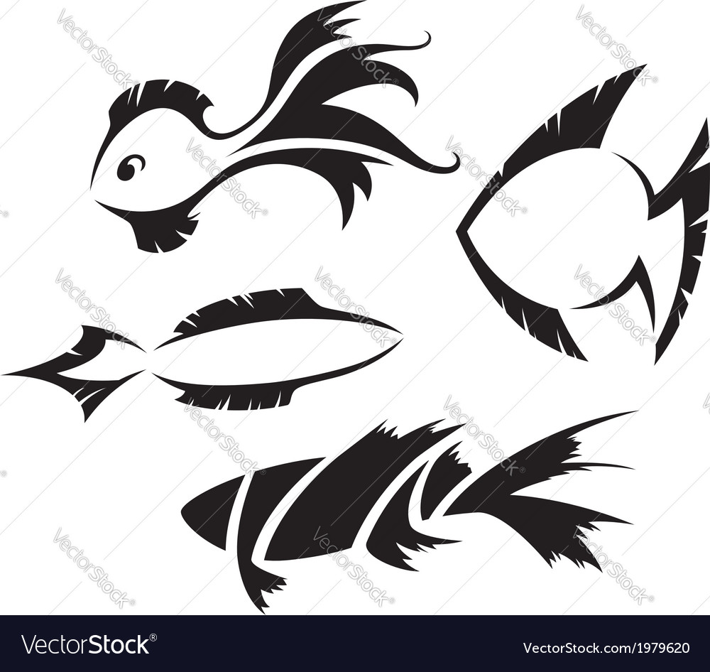 Fish symbols vector | Price: 1 Credit (USD $1)