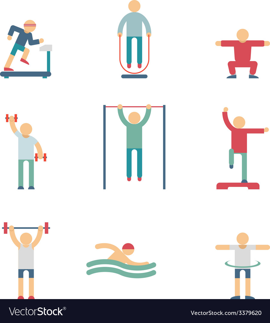 Fitness people color icons vector | Price: 1 Credit (USD $1)