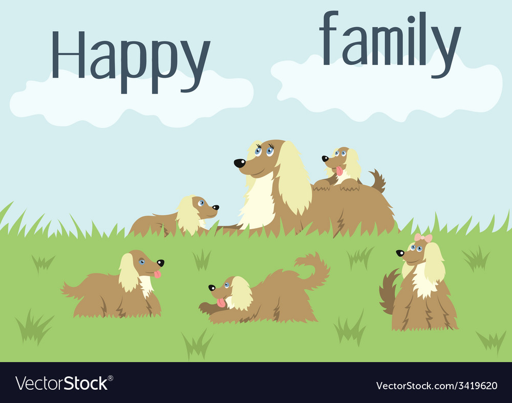 Happy family card with dog and puppies vector | Price: 1 Credit (USD $1)
