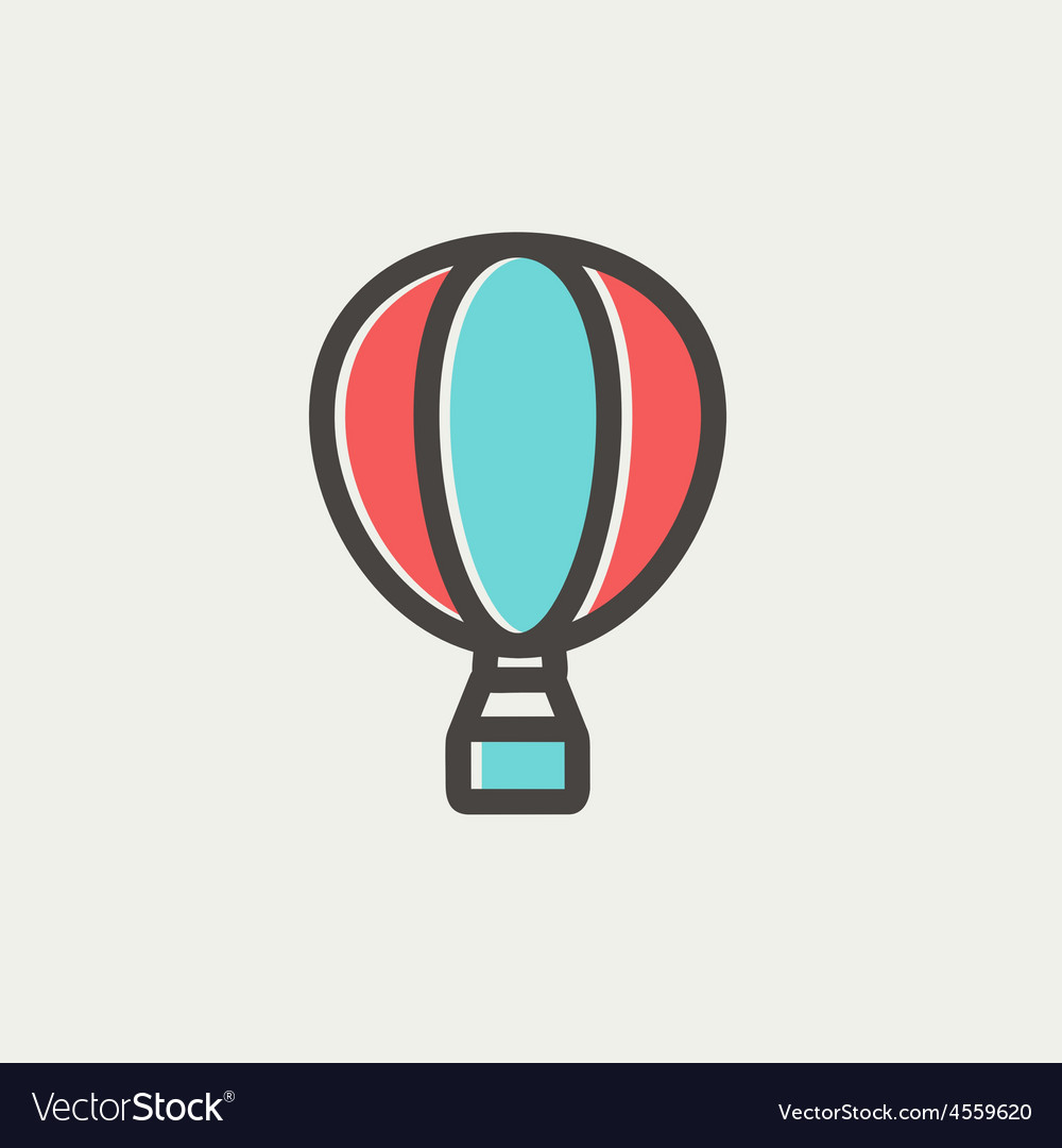 Hot air balloon thin line icon vector   Price: 1 Credit (USD $1)