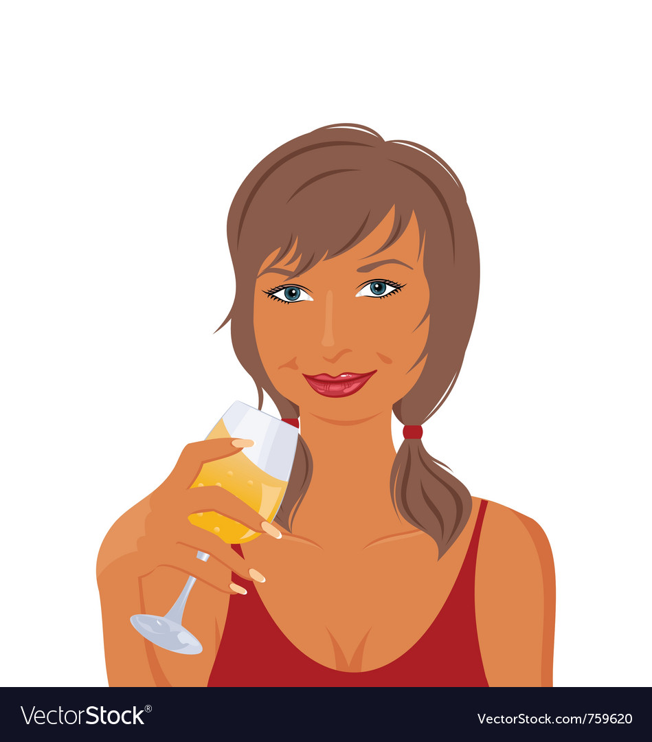Pretty girl with beverage vector | Price: 1 Credit (USD $1)