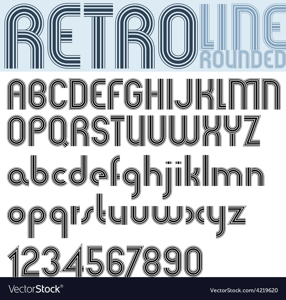 Retro line stripes effect font pattern old style vector | Price: 1 Credit (USD $1)