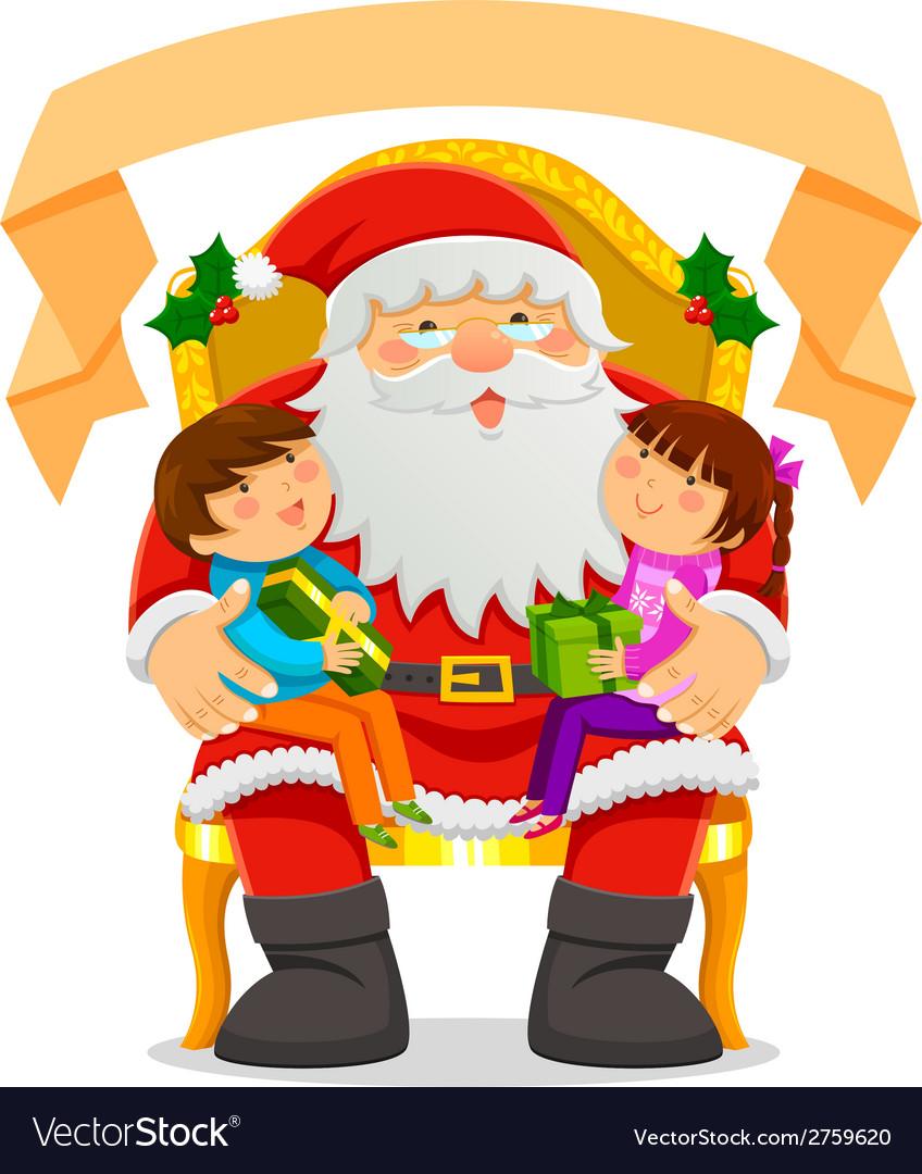 Santa and children vector