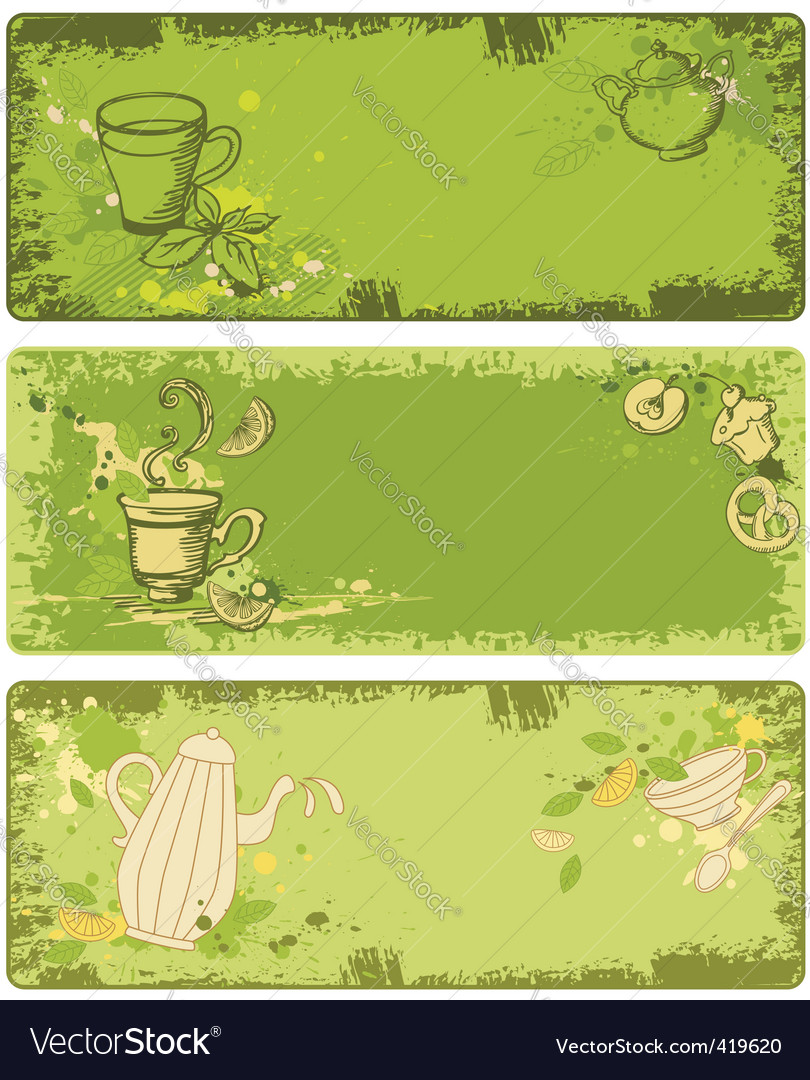 Set of green tea banners vector | Price: 1 Credit (USD $1)