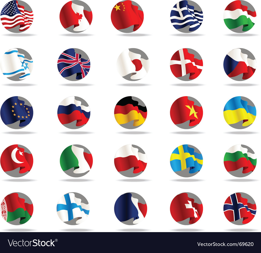 Set of world flags icons vector | Price: 1 Credit (USD $1)