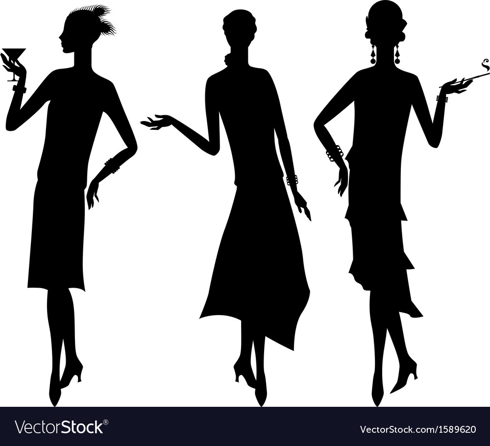 Silhouettes of beautiful girl 1920s style vector | Price: 1 Credit (USD $1)