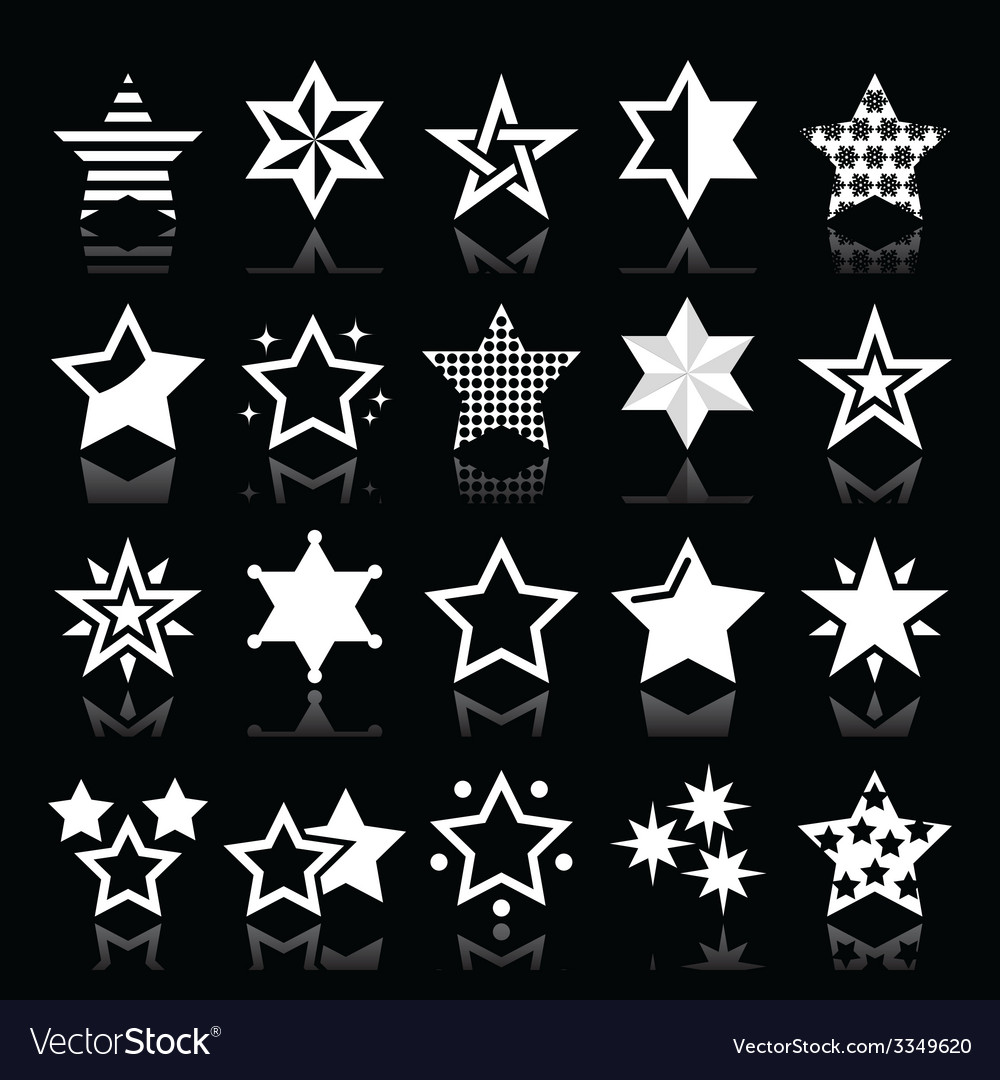 Stars white icons with reflection isolated vector | Price: 1 Credit (USD $1)