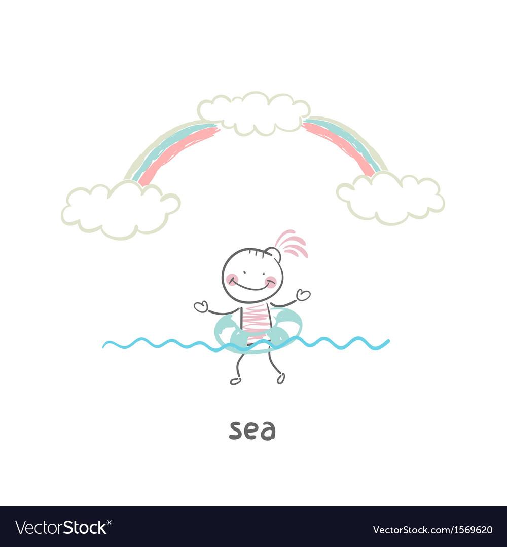 Swim in the sea vector | Price: 1 Credit (USD $1)