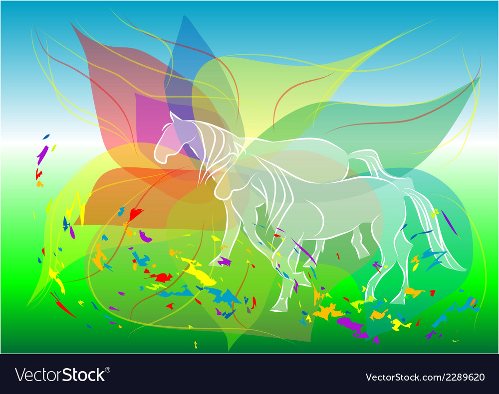Walking horses vector | Price: 1 Credit (USD $1)