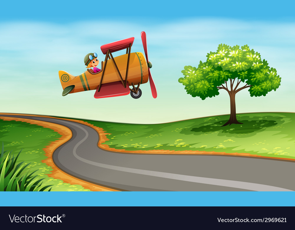 A plane above the winding road vector | Price: 1 Credit (USD $1)