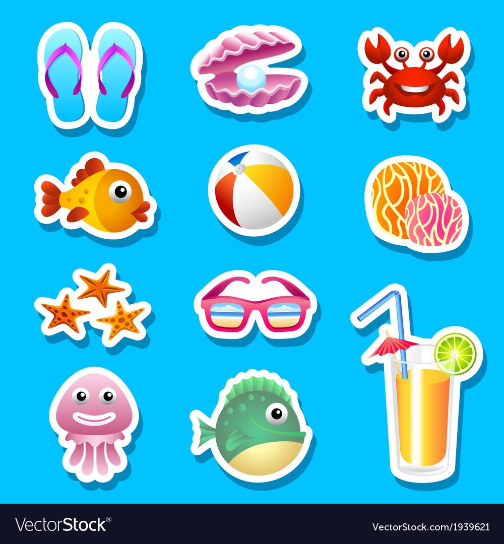 Beach stickers vector | Price: 1 Credit (USD $1)