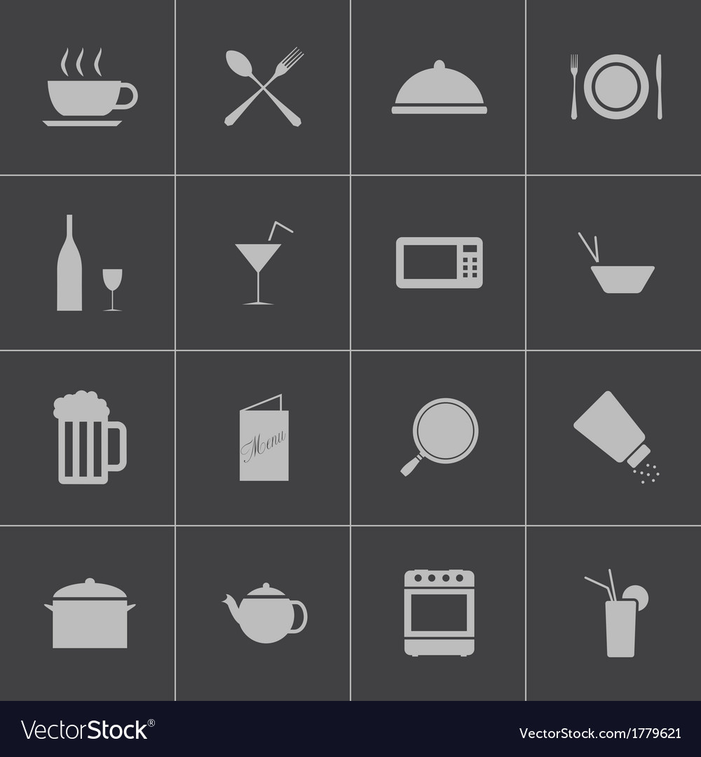 Black food icons set vector | Price: 1 Credit (USD $1)