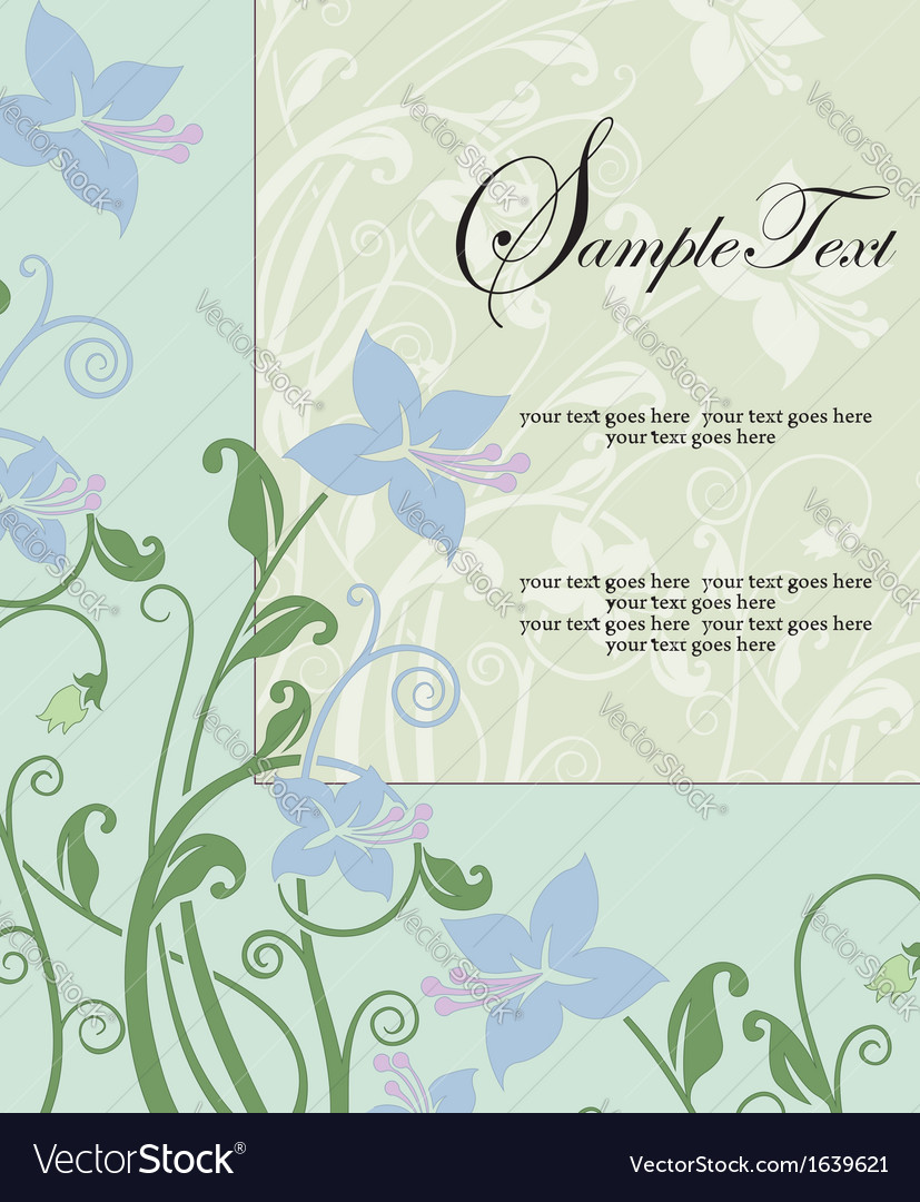 Blue floral card with place for text vector | Price: 1 Credit (USD $1)