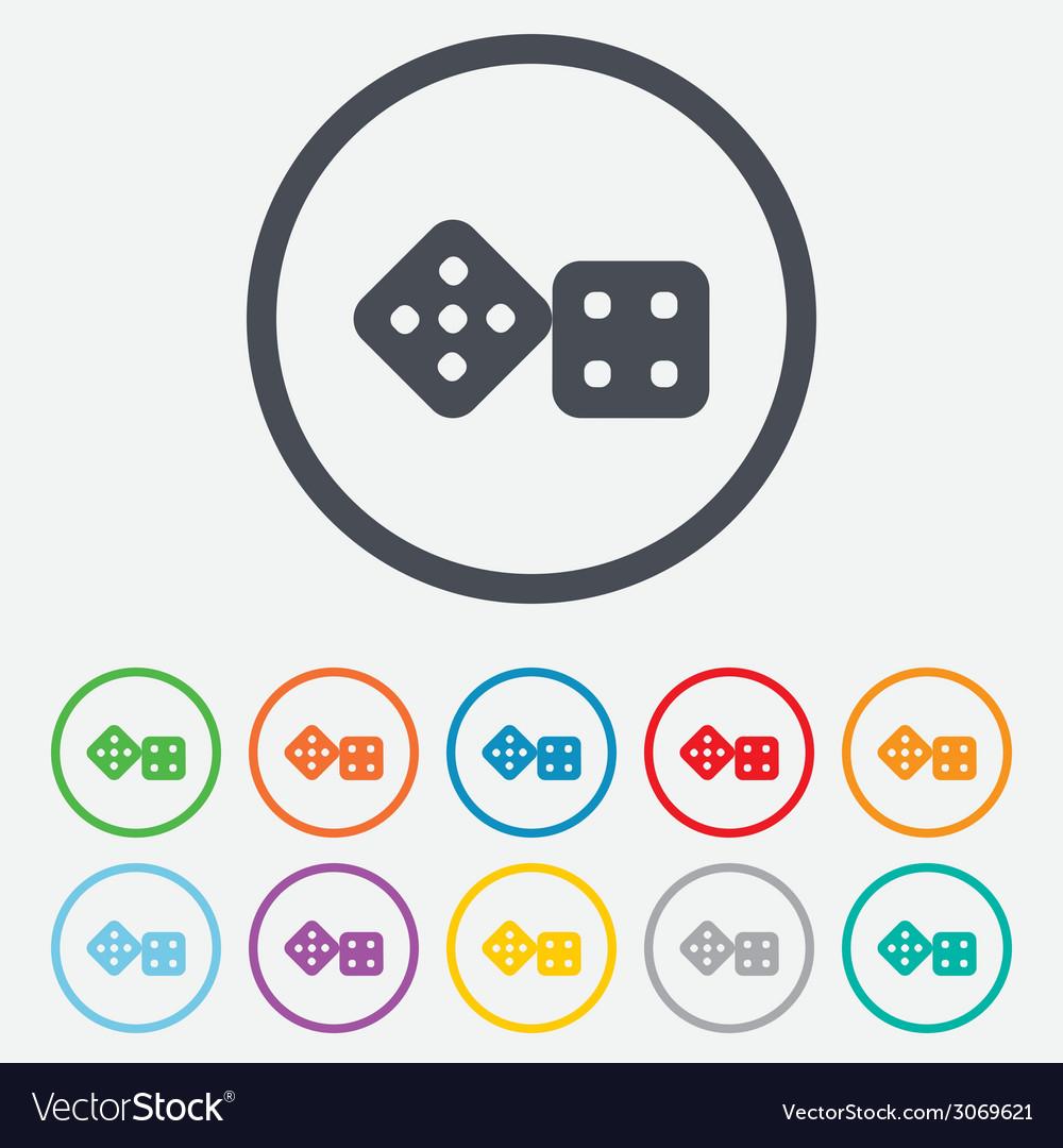Dices sign icon casino game symbol vector | Price: 1 Credit (USD $1)