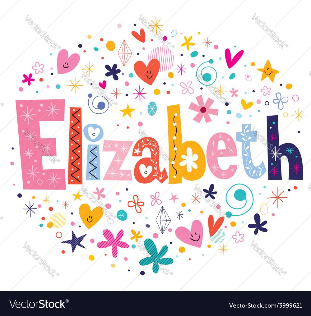 Elizabeth female name decorative lettering type vector | Price: 1 Credit (USD $1)