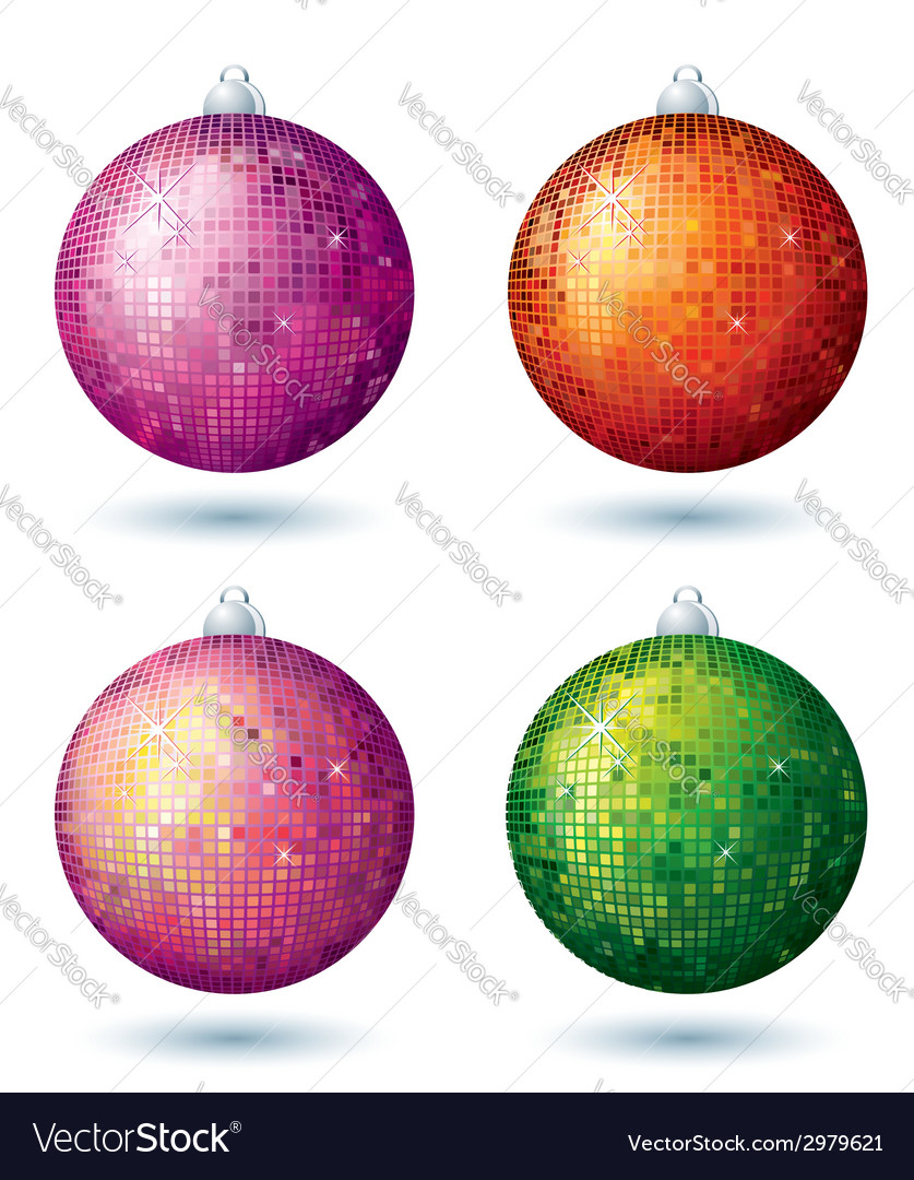 Four christmas disco ball over white background vector | Price: 1 Credit (USD $1)