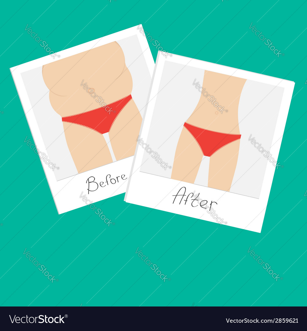 From fat to skinny woman healthy unhealthy food vector | Price: 1 Credit (USD $1)