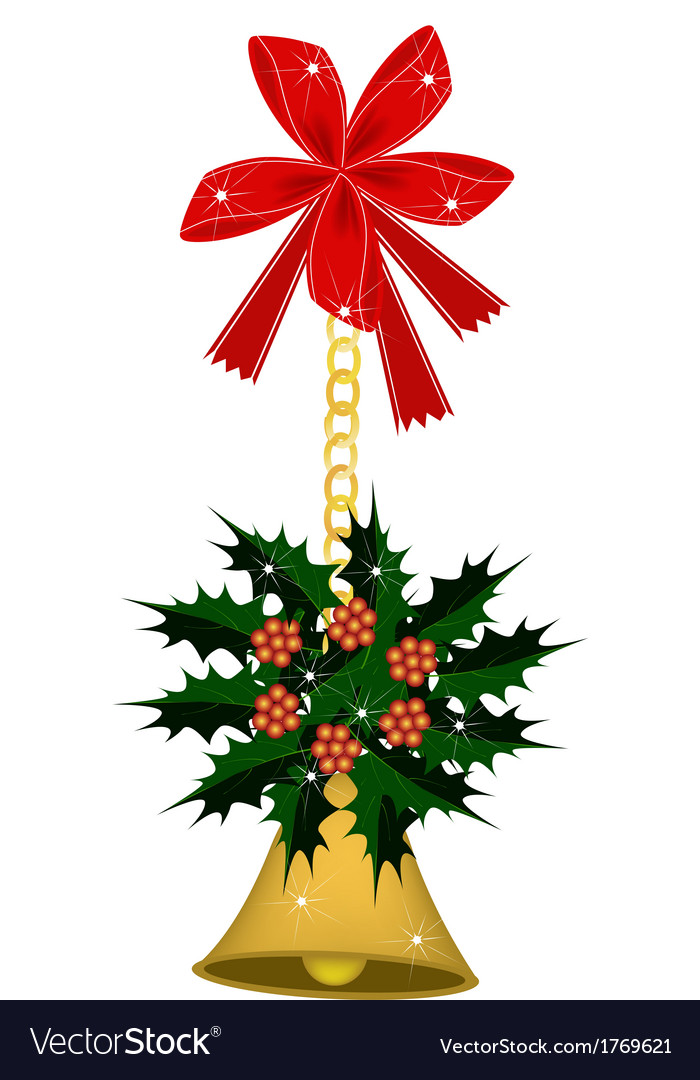 Golden bell and christmas holly with a bow vector | Price: 1 Credit (USD $1)
