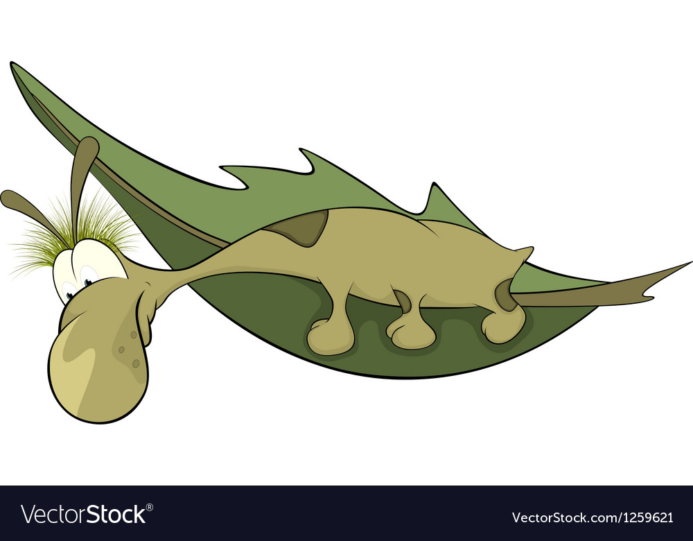 Green worm on a leaf cartoon vector | Price: 1 Credit (USD $1)