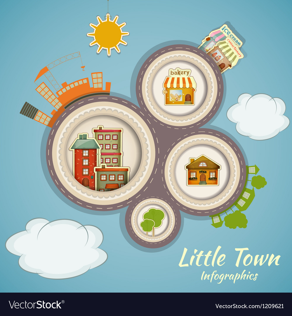 Little town infographics vector | Price: 3 Credit (USD $3)