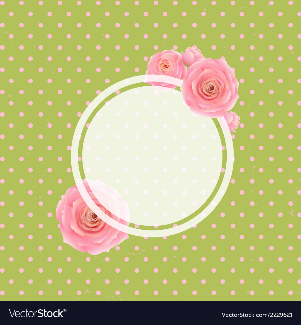 Pink rose label and green background vector | Price: 1 Credit (USD $1)